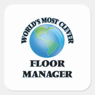 世界|ほとんど|利発|床|マネージャー 正方形シール・ステッカー