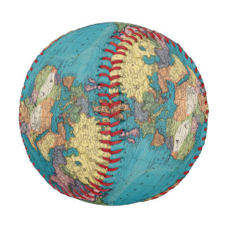 世界、メルカトル図法 野球ボール