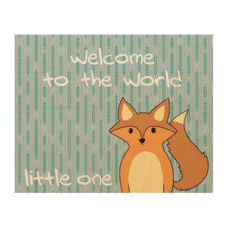 世界-少しキツネへの歓迎 ウッドウォールアート