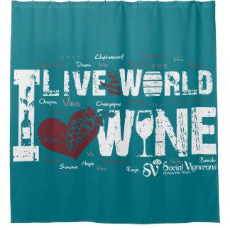 世界、愛ワインのシャワー・カーテンは住んでいます シャワーカーテン