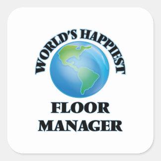 世界|最も幸せ|床|マネージャー 正方形シールステッカー