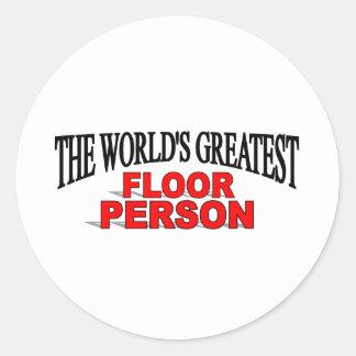 世界|最も素晴らしい|床|人 丸形シールステッカー