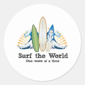 世界、1つの波を一度にサーフして下さい ラウンドシール