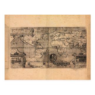 世界(1581年)の地図 ポストカード