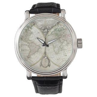 世界(1775年)のヴィンテージの地図 腕時計