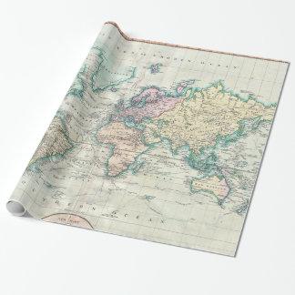 世界(1801年)のヴィンテージの地図 ラッピングペーパー