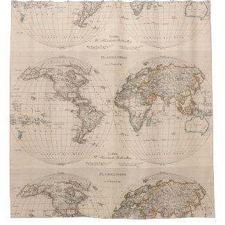 世界(1827年) 2のヴィンテージの地図 シャワーカーテン
