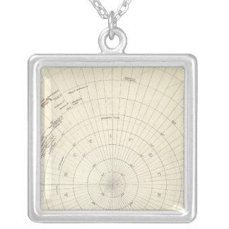 世界、45のSの大石柱への日時計のproj VI南極 シルバープレートネックレス