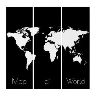 世界、black&whiteのworldmap/地図 トリプティカ