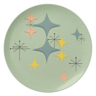 世紀半ばのカスタムなモダンなEamesの原子スターバスト プレート
