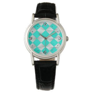世紀半ばのサテンのダイヤモンド-銀および水 腕時計