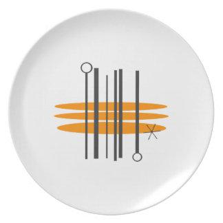 世紀半ばのプリントのディナー用大皿 プレート
