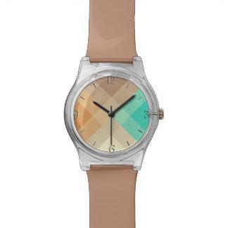 世紀半ばのメガ格子縞-日焼け及びターコイズ 腕時計