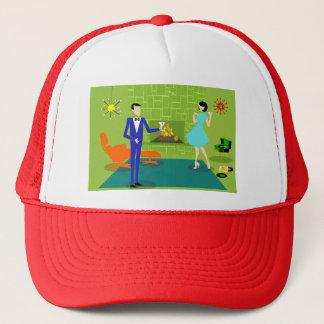 世紀半ばのモダンなカップルのトラック運転手の帽子 キャップ