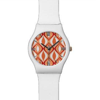 世紀半ばのモダンなダイヤモンド、オレンジ及び白 腕時計