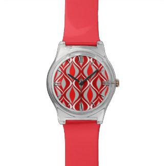 世紀半ばのモダンなダイヤモンド、赤い及び灰色/灰色 腕時計