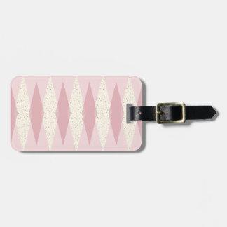 世紀半ばのモダンなピンクのアーガイル柄のな荷物のラベル ラゲッジタグ