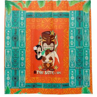 世紀半ばのモダンなレトロの熱帯TikiのBath及びスパ シャワーカーテン