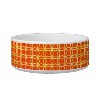 世紀半ばのモダンな円、マンダリンオレンジ 猫のえさ皿