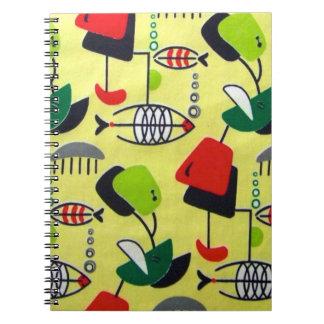 世紀半ばのモダンな原子デザインの螺線形ノート ノートブック