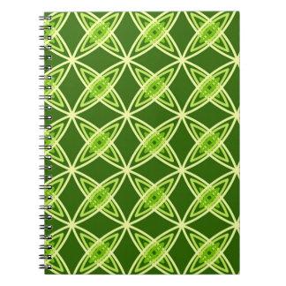 世紀半ばのモダンな原子プリント-オリーブ色 ノートブック
