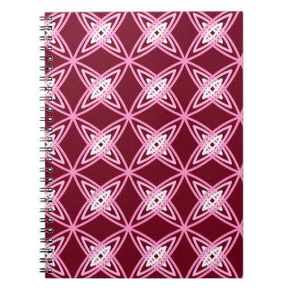 世紀半ばのモダンな原子プリント-バーガンディのワイン ノートブック