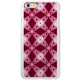 世紀半ばのモダンな原子プリント-バーガンディのワイン INCIPIO FEATHER SHINE iPhone 6 PLUSケース