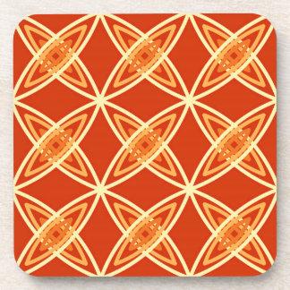 世紀半ばのモダンな原子プリント-マンダリンオレンジ コースター