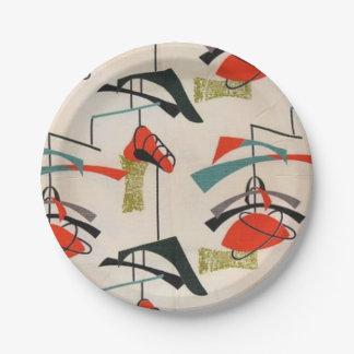 世紀半ばのモダンな原子生地の紙皿 ペーパープレート