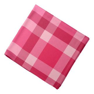 世紀半ばのモダンな格子縞-ピンクおよびワイン バンダナ