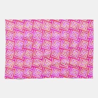 世紀半ばのモダンな正方形のらせん状-ピンクの数々の キッチンタオル