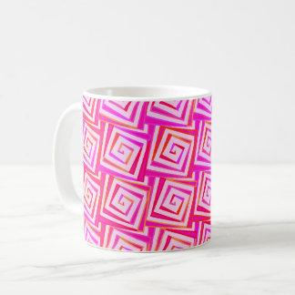 世紀半ばのモダンな正方形のらせん状-ピンクの数々の コーヒーマグカップ