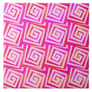 世紀半ばのモダンな正方形のらせん状-ピンクの数々の タイル