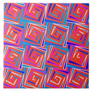 世紀半ばのモダンな正方形のらせん状-赤い数々の タイル