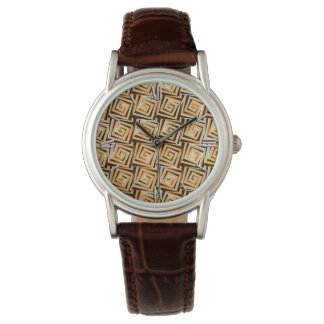 世紀半ばのモダンな正方形のらせん状-黄褐色の数々の 腕時計