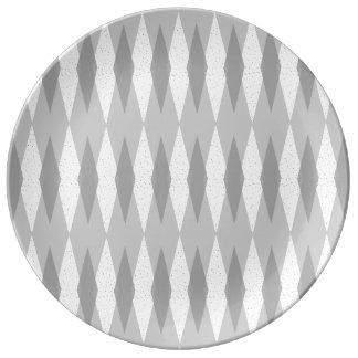 世紀半ばのモダンな灰色のアーガイル柄のな磁器皿 磁器プレート