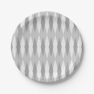 世紀半ばのモダンな灰色のアーガイル柄のな紙皿 ペーパープレート