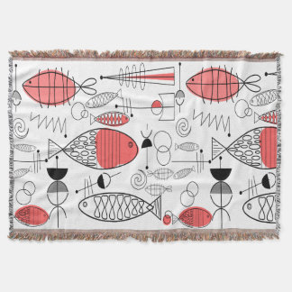 世紀半ばのモダンな魚のサーモンピンク スローブランケット