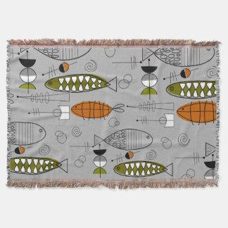 世紀半ばのモダンな魚の芸術の灰色 スローブランケット