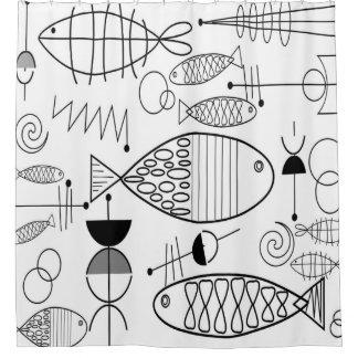 世紀半ばのモダンな魚の芸術の白黒 シャワーカーテン