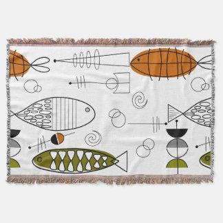 世紀半ばのモダンな魚の芸術 スローブランケット