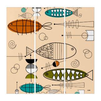 世紀半ばのモダンな魚の芸術 トリプティカ