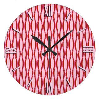 世紀半ばのリボンのプリント-ピンクおよびバーガンディ ラージ壁時計