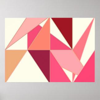 世紀半ばの抽象芸術、三角形-ベージュ珊瑚 ポスター