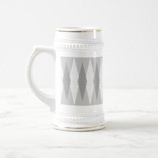 世紀半ばモダンな灰色のアーガイル柄のなステイン ビールジョッキ