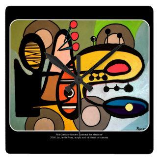 「世紀半ばモダン抽象芸術絵を描く機械」の スクエア壁時計