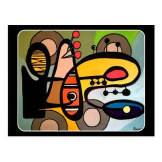 「世紀半ばモダン抽象芸術絵を描く機械」の ポストカード