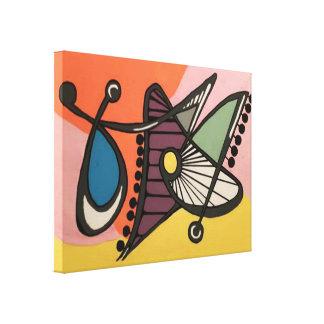 「世紀半ばモダン抽象芸術、絵を描いている蝶」の キャンバスプリント