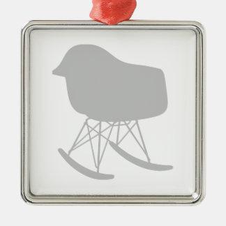 世紀半ば灰色パターン椅子のシルエット メタルオーナメント