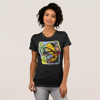 「世紀半ばaで絵を描いているモダンで抽象的な庭蜂」の tシャツ